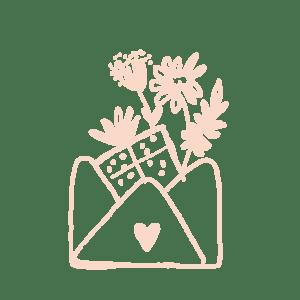 illustration enveloppe cadeau fleurs
